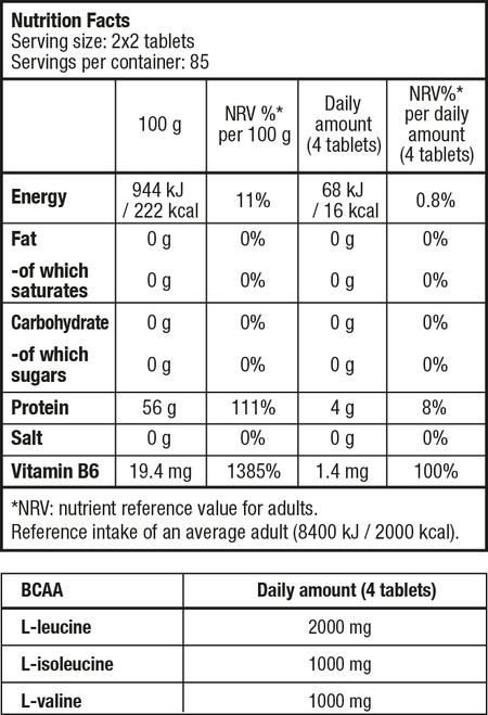 BCAA+B6 - 340 tabletta - Supplement Facts