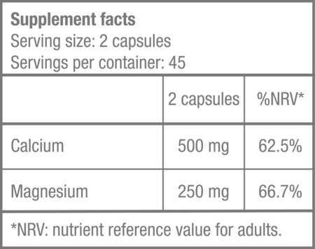 Calcium Complete - 90 kapszula - Supplement Facts