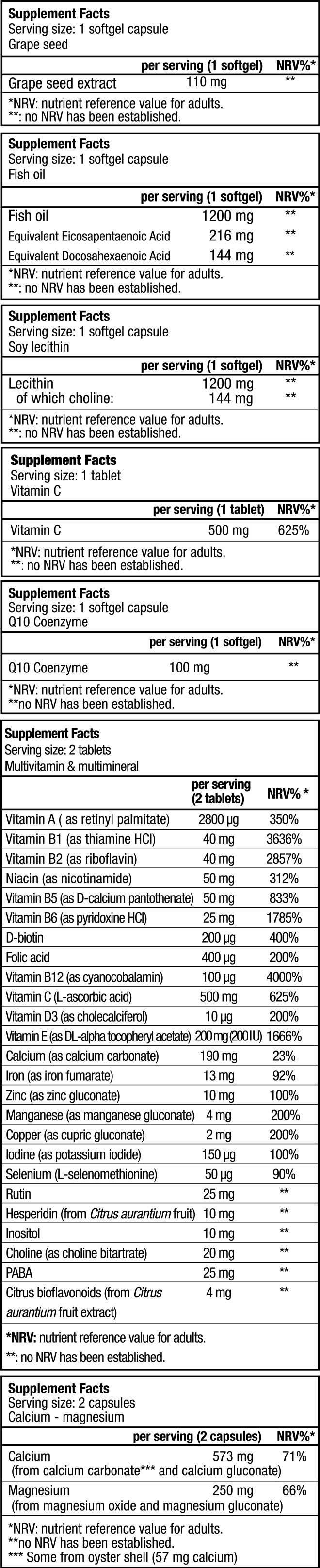 Daily Pack multivitamina - 30 paquetes - Supplement Facts