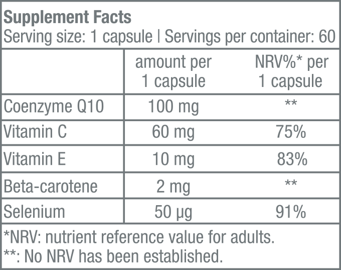 H2O Q10 - 60 capsule - Supplement Facts