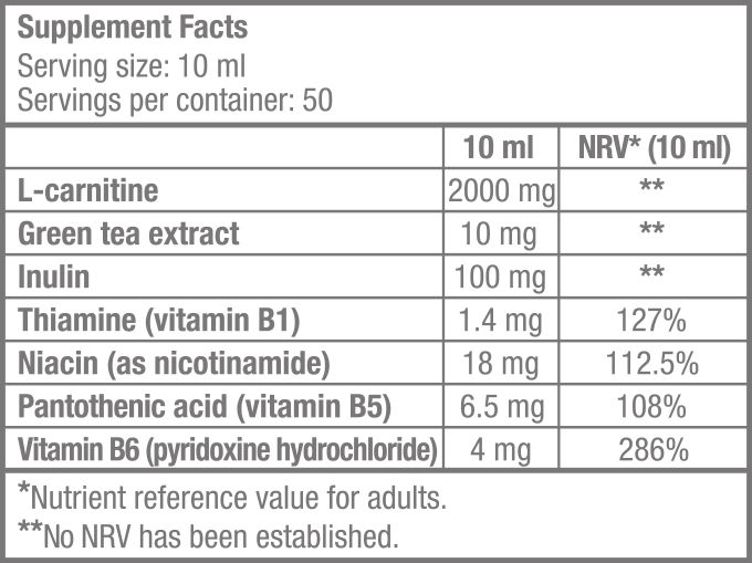 L-Carnitine 100.000 Liquid - 500 ml - Supplement Facts