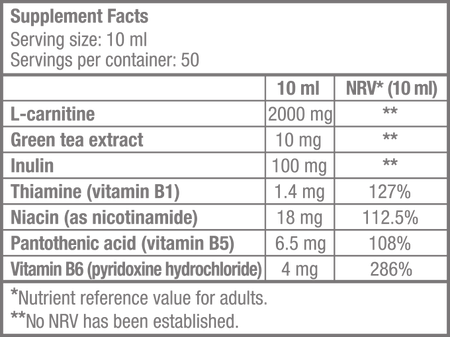 L-Carnitine 100.000 - 500 ml - Supplement Facts
