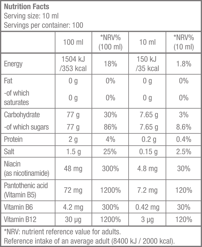 Multi Hypotonic Drink - 1 000 ml - Supplement Facts