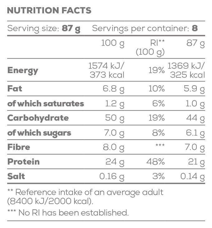 Protein Gusto - Oat & Whey with fruits - 696 g - Supplement Facts