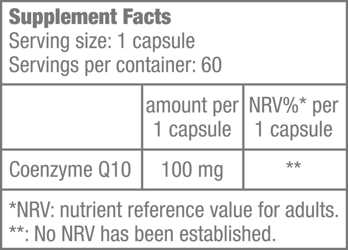 Q10 Coenzyme 100 mg - 60 kapszula - Supplement Facts