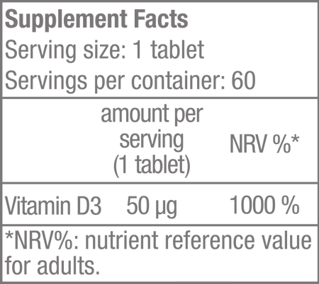 Vitamin D3 - 60 tabletta - Supplement Facts