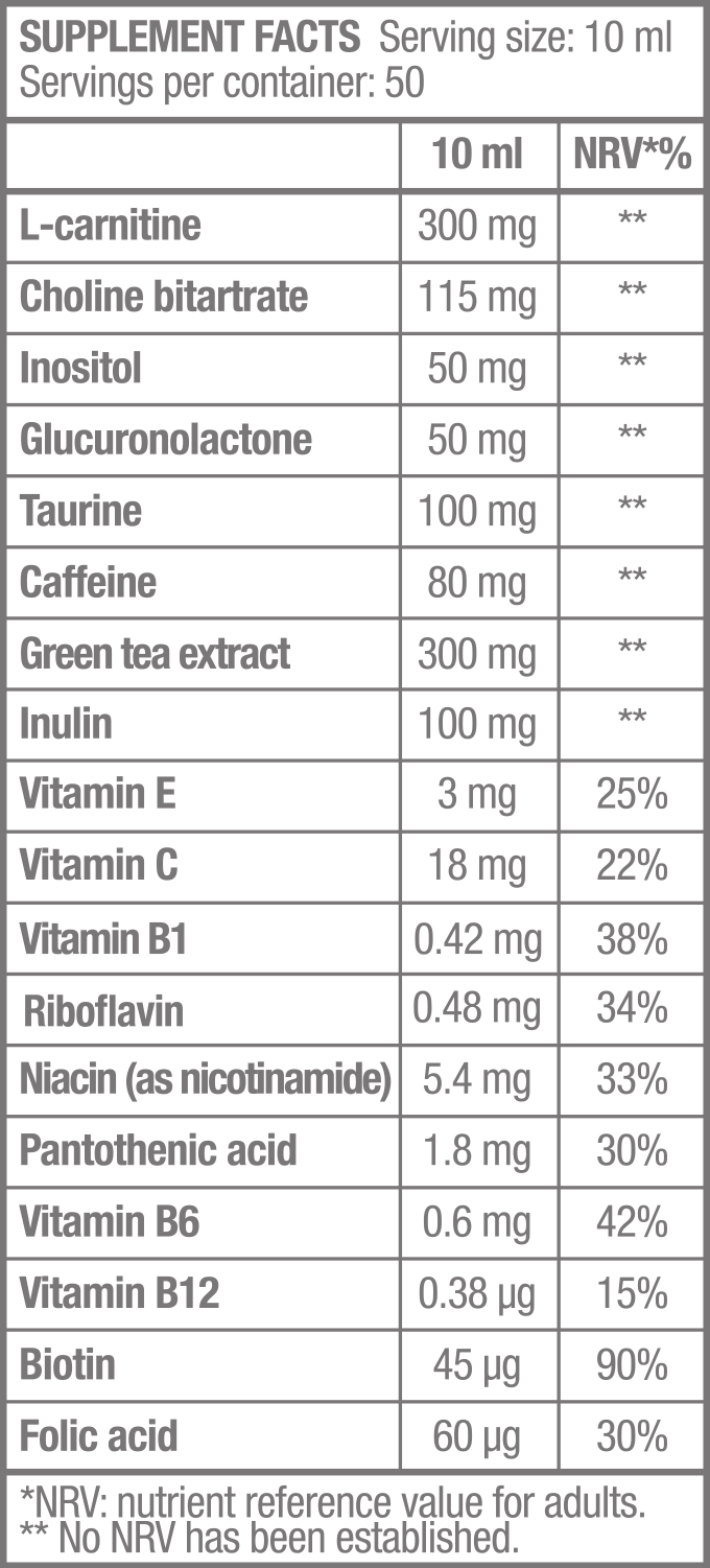 Thermo Drine Liquid - 500 ml - Supplement Facts