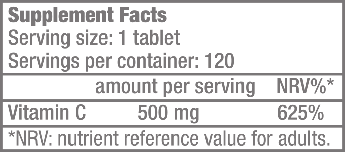 Vitamin C 500 - 120 rágótabletta - Supplement Facts