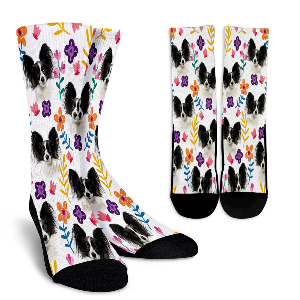 Papillon Floral Design Crew Socks - JillnJacks Exclusive - Jill 'n Jacks