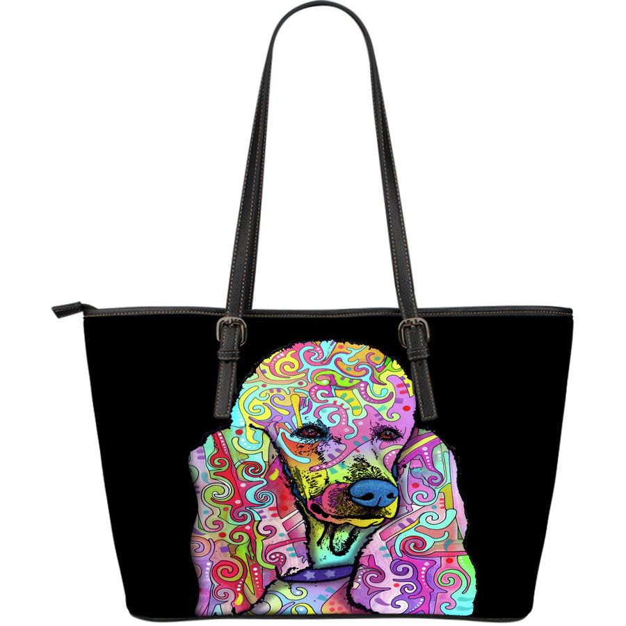 Poodle Large Leather Tote Bag - Dean Russo Art - Jill 'n Jacks