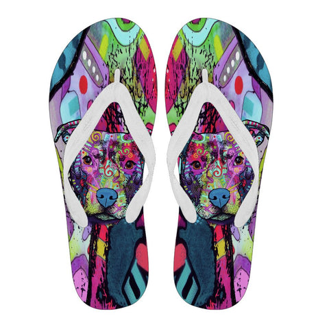 Pitbull Design Women's Flip Flops  - Dean Russo Art