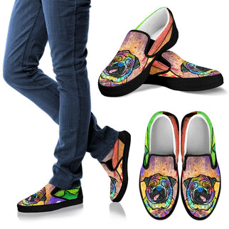 Pug Design Men's Slip Ons - Dean Russo Art