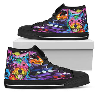Westie Men's High Top Canvas Shoes - Dean Russo Art - Jill 'n Jacks