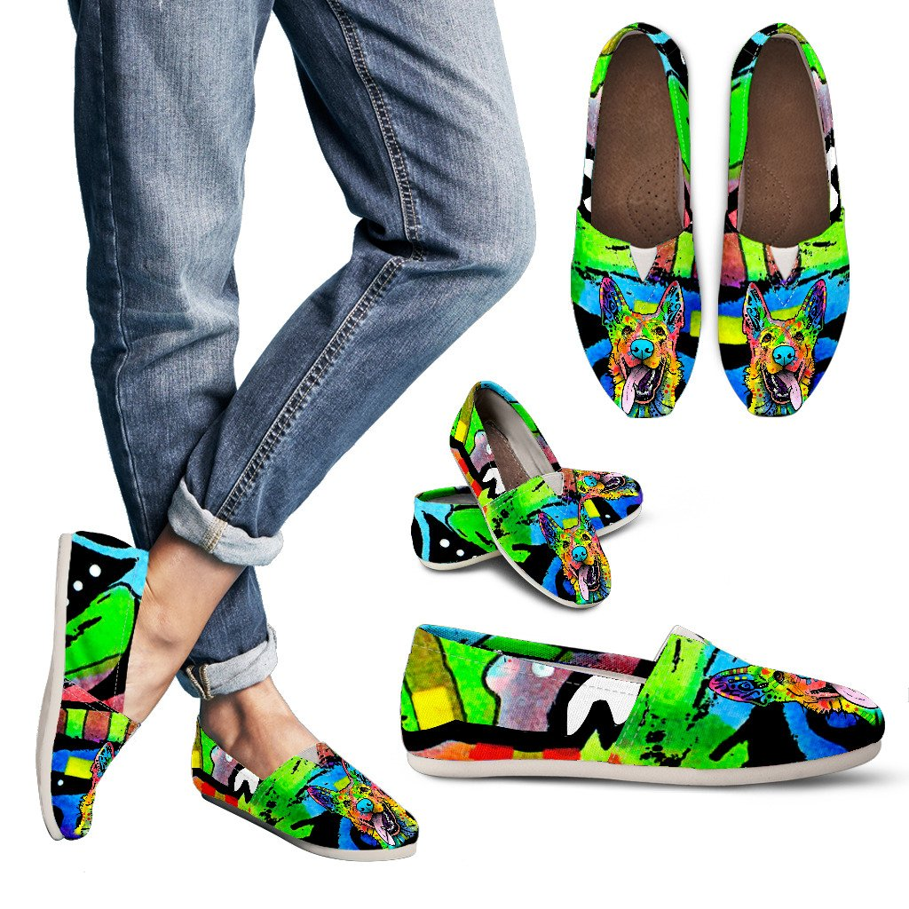German Shepherd Design Women's Casual Shoes - Dean Russo Art