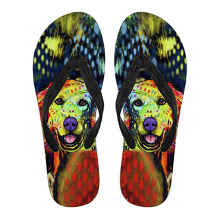 Golden Retriever Design Men's Flip Flops - Dean Russo Art - Jill 'n Jacks