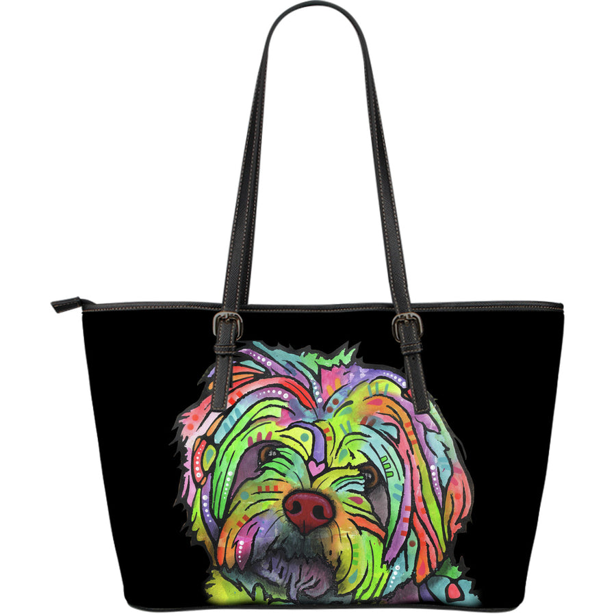Havanese Large Leather Tote Bag - Dean Russo Art - Jill 'n Jacks
