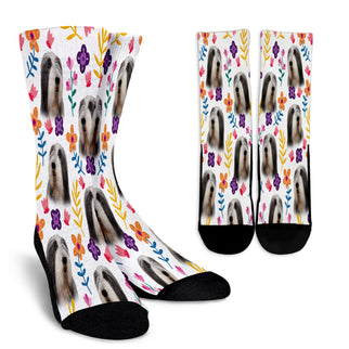 Bearded Collie Floral Design Crew Socks - JillnJacks Exclusive - Jill 'n Jacks