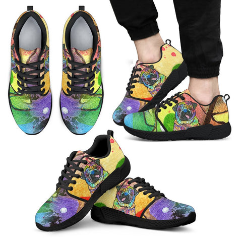 Pug Design Men's Athletic Sneakers - Dean Russo Art