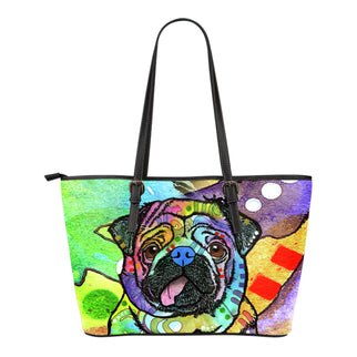 Pug Small Leather Tote Bags - Dean Russo Art