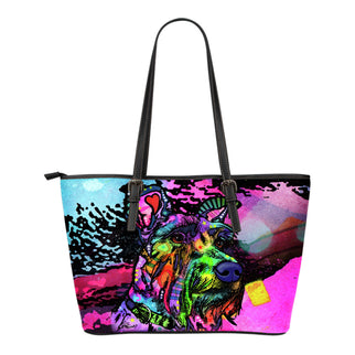 Schnauzer Small Leather Tote Bags - Dean Russo Art