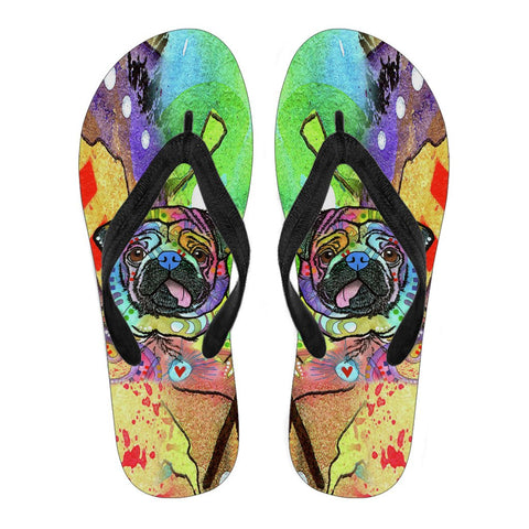 Pug Design Men's Flip Flops  - Dean Russo Art