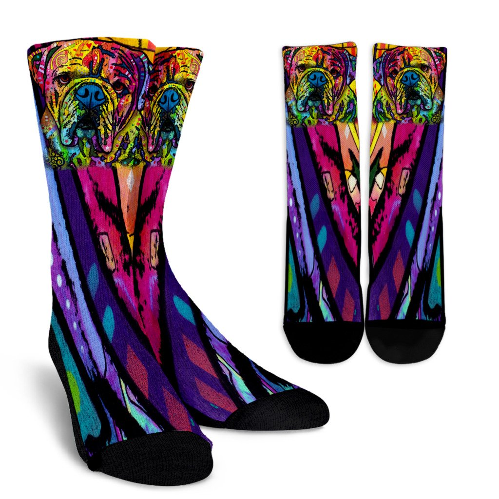 Bulldog Design Crew Socks - Dean Russo Art