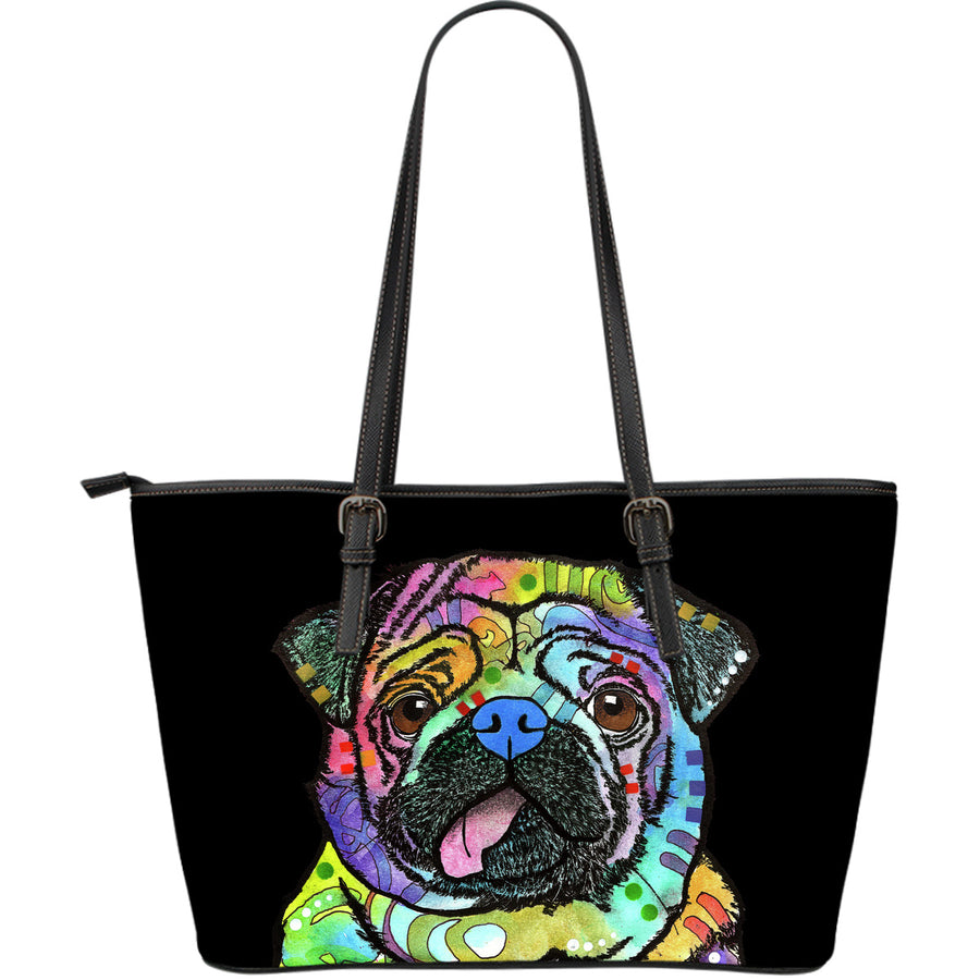 Pug Large Leather Tote Bag - Dean Russo Art - Jill 'n Jacks