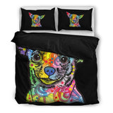 Chihuahua Bedding Set - - Duvet / Comforter Cover and Two Pillow Covers - Dean Russo Art