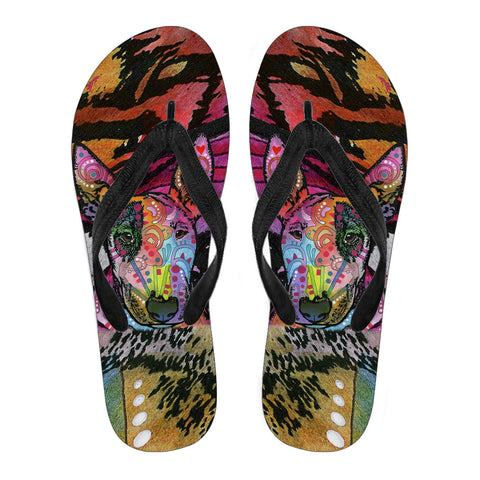 Bull Terrier Design Men's Flip Flops  - Dean Russo Art