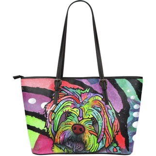 Havanese Large Leather Tote Bag - Dean Russo Art