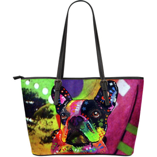 French Bulldog Large Leather Tote Bag - Dean Russo Art - Jill 'n Jacks