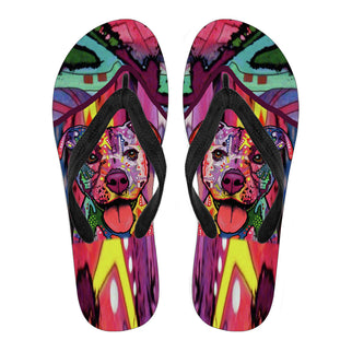 Staffordshire Terrier (Staffie) Design Men's Flip Flops  - Dean Russo Art