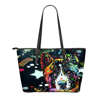 Akita Small Leather Tote Bags - Dean Russo Art - Jill 'n Jacks