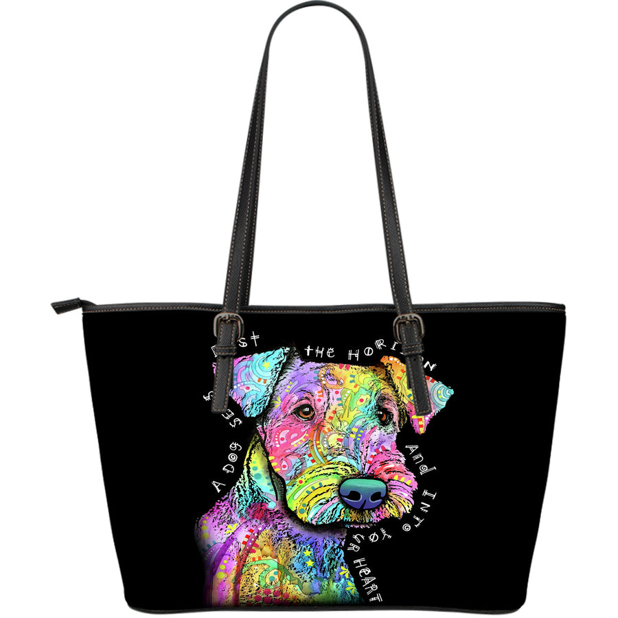 Airedale Terrier Large Leather Tote Bag - Dean Russo Art - Jill 'n Jacks