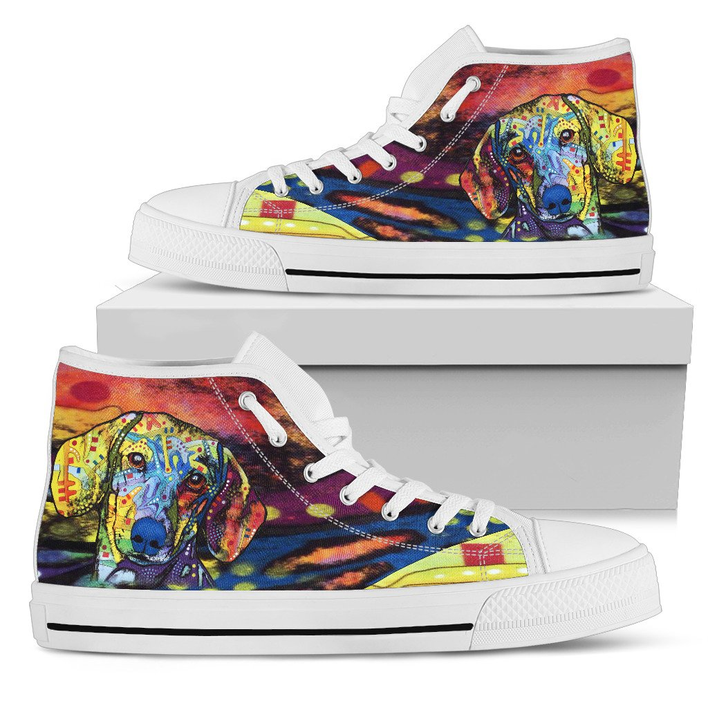 Dachshund Women's High Top Canvas Shoes - Dean Russo Art - Jill 'n Jacks