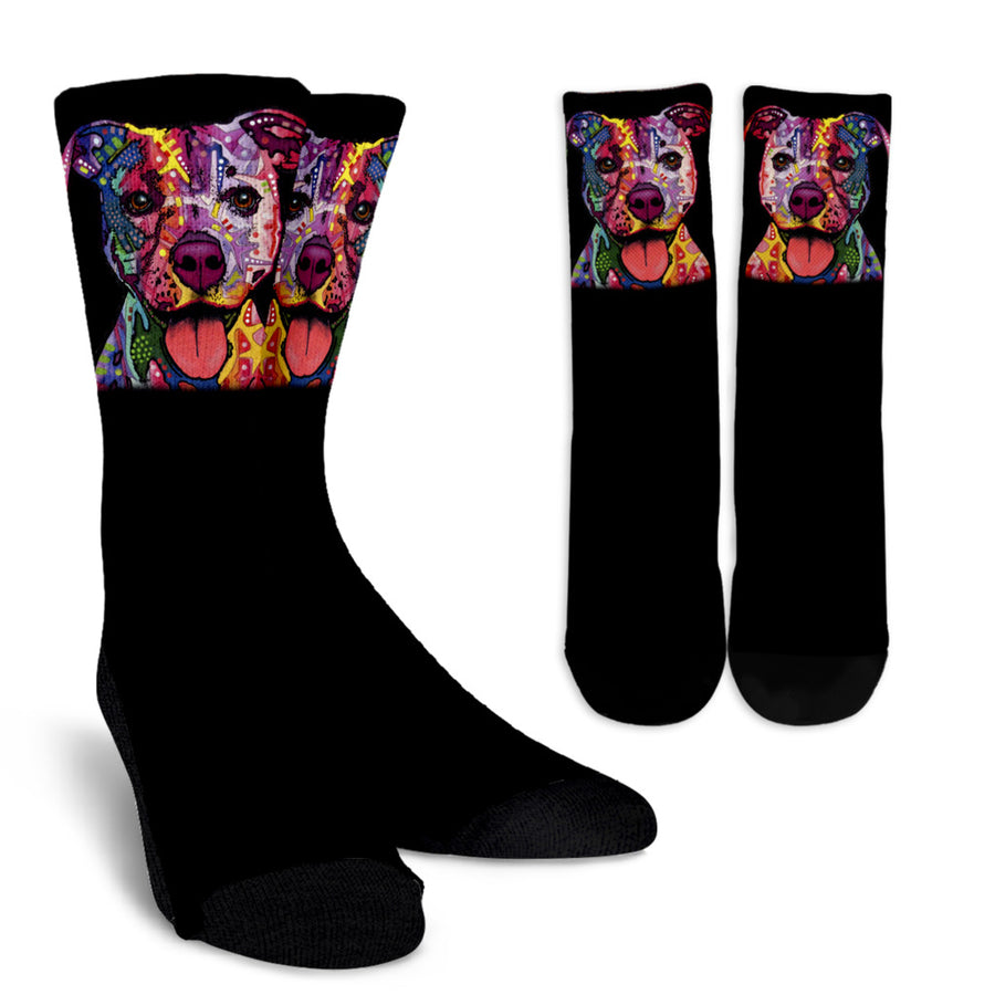 Staffordshire Terrier (Staffie) Design Crew Socks - Dean Russo Art