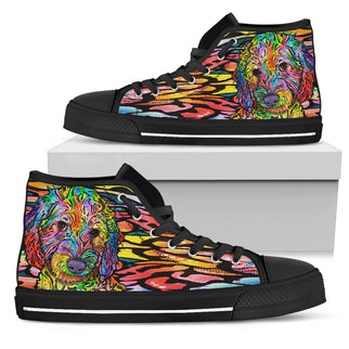 Labradoodle Women's High Top Canvas Shoes - Dean Russo Art - Jill 'n Jacks