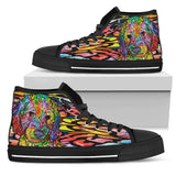 Labradoodle Women's High Top Canvas Shoes - Dean Russo Art