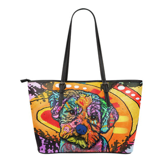 Maltese Small Leather Tote Bags - Dean Russo Art