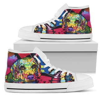 Beagle Women's High Top Canvas Shoes - Dean Russo Art - Jill 'n Jacks