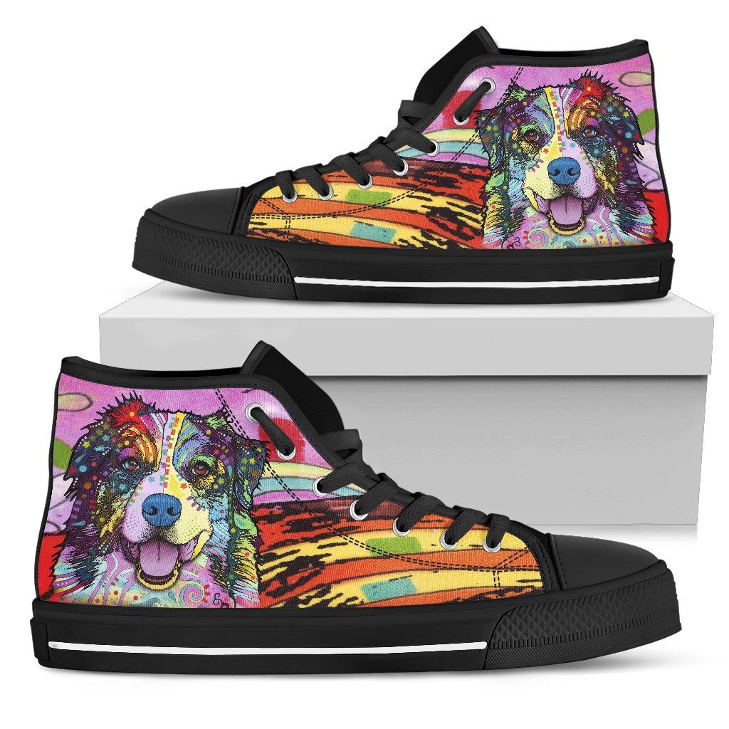Australian Shepherd Men's High Top Canvas Shoes - Dean Russo Art