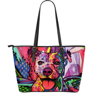 Staffordshire Terrier (Staffie) Large Leather Tote Bag - Dean Russo Art