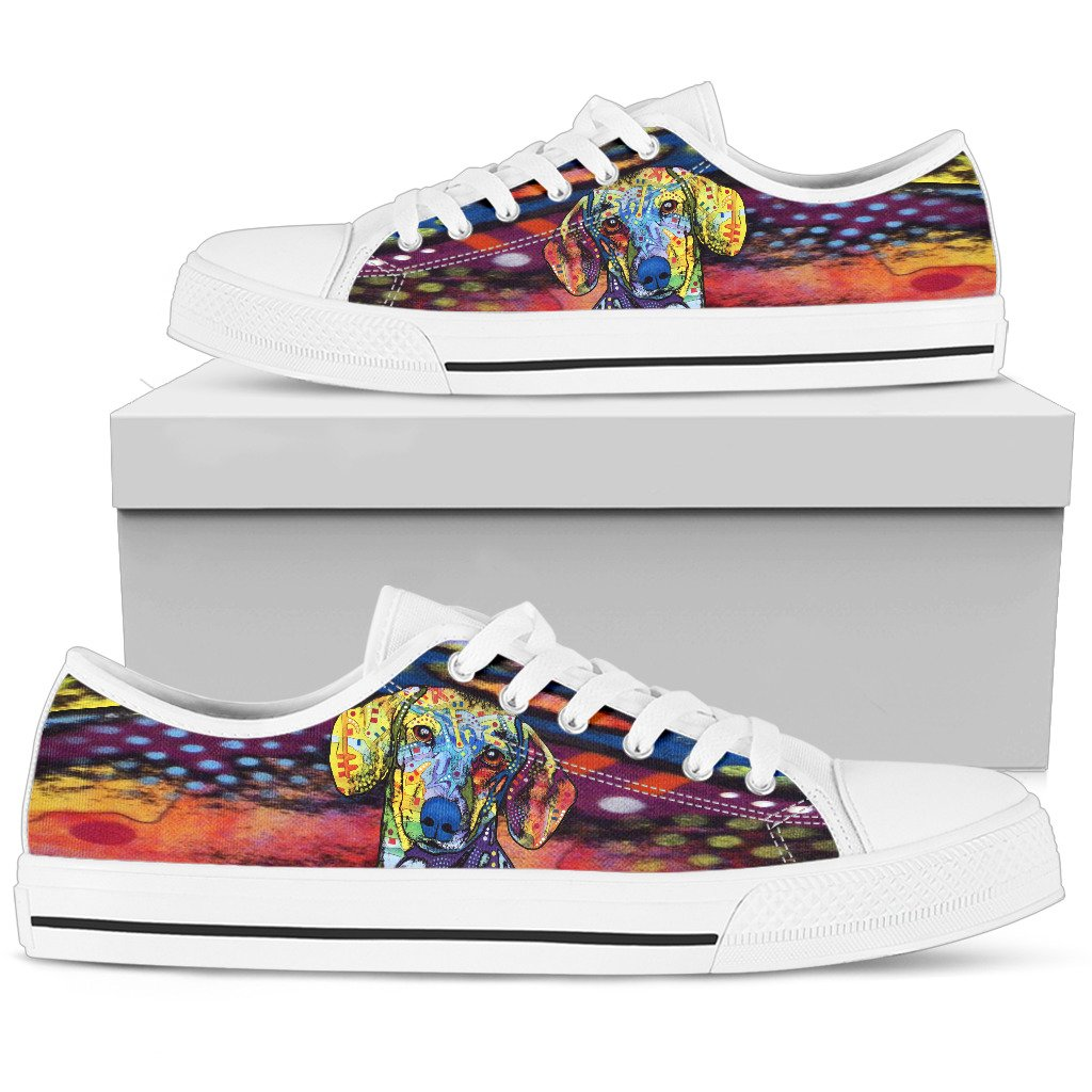 Dachshund Women's Low Top Canvas Shoes - Dean Russo Art
