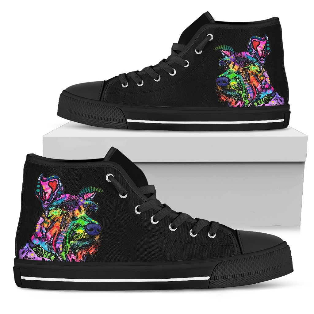 Schnauzer Men's High Top Canvas Shoes - Dean Russo Art
