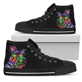 Schnauzer Men's High Top Canvas Shoes - Dean Russo Art - Jill 'n Jacks