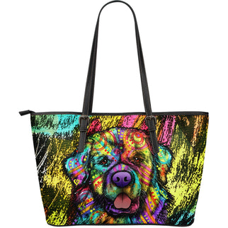 Newfie Large Leather Tote Bag - Dean Russo Art
