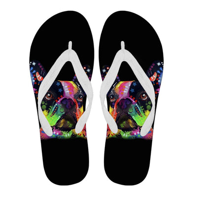 French Bulldog Design Women's Flip Flops - Dean Russo Art - Jill 'n Jacks