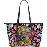 Labradoodle Large Leather Tote Bag - Dean Russo Art