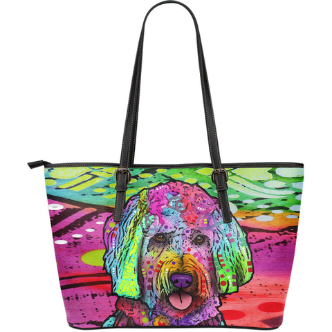 Goldendoodle Large Leather Tote Bag - Dean Russo Art