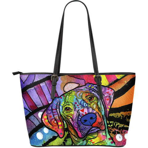 Vizsla Large Leather Tote Bag - Dean Russo Art